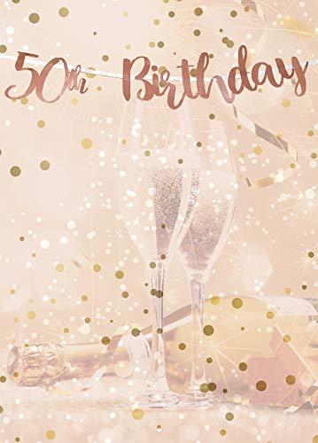 Alandra Cumpleaños BUNT-50 50th cumpleaños Oro Rosa metálico Bunting, Crema y Rosa, Talla única