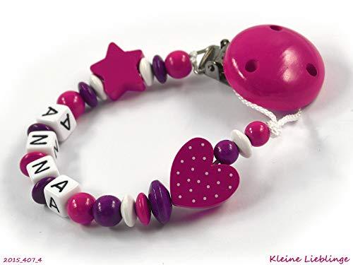 Schnullerkette mit Namen für Mädchen Stern Herz - dunkelpink, beere, weiß (4 Buchstaben)