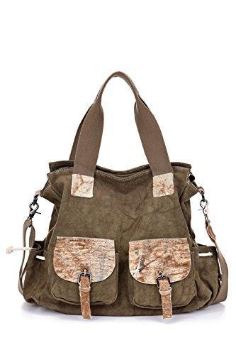 Wewod Damen Handtaschen Umhängetasche Tote-Geldbeutel-Kurier-Schulter-Beutel für Frauen-Segeltuch-Leder-Material (Braun)