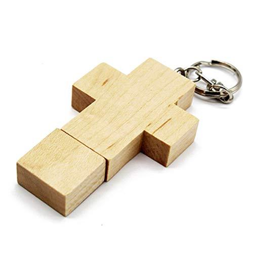 Moliies chiavetta usb a forma di croce in legno d'acero creativo chiavetta usb a forma di croce, mini chiavetta usb portatile con portachiavi per pc portatili