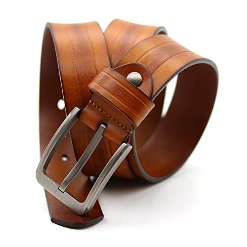 Ying xinguang Gürtel Herren Casual Echtes Leder Kleid Gürtel für Jeans Classic (Farbe : Orange) (Classic Casual Kleider)