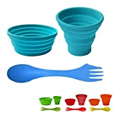 Ecoart Silicone Collapsible Cup and Bowl Set for 1 with Spork for Camping Hiking 100% Food-Grade FDA Approved BPA Free