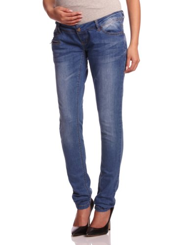 Heavy Destroyed Skinny Jean (MAMALICIOUS Damen Slim Umstands Jeans FREY POCKETZIP - BJ001 - NOOS, Gr. W26/L32 (Herstellergröße: 26), Blau (DENIM Wash:DUSTED BLUE HEAVY WASHED))