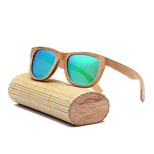 MongGood Mode Herren Damen Holzrahmen Sonnenbrille Quadrat Bambus Handgefertigt Spiegel Sonnenbrille mit Etui - Greensize, 1