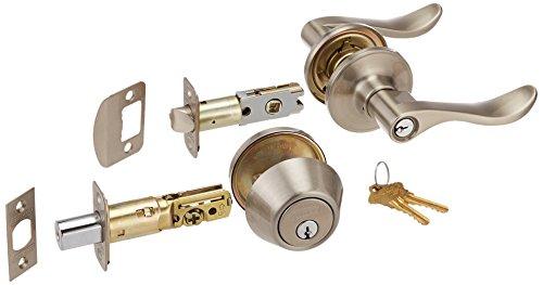 Knopf Und Tür Riegel Set Lock (Schlage jc60V SEV Steckdose 619Sicherheit Set 1-Zylinder Riegel und J54Kodiert Eintrag Sevilla Hebel, Satin Nickel Finish)