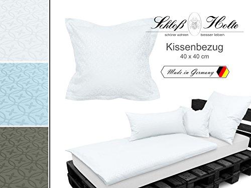 Hochwertige Damast-Bettwäsche und Kissenbezüge der Premiummarke Schloß Holte von Wülfing - aus 100% Baumwolle - mit gewebtem Krawattenmuster - unifarben - made in Germany - erhältlich in 3 Farben, weiß, Kissenbezug ca. 40 x 40 cm (Damast-beige-bett-decke)