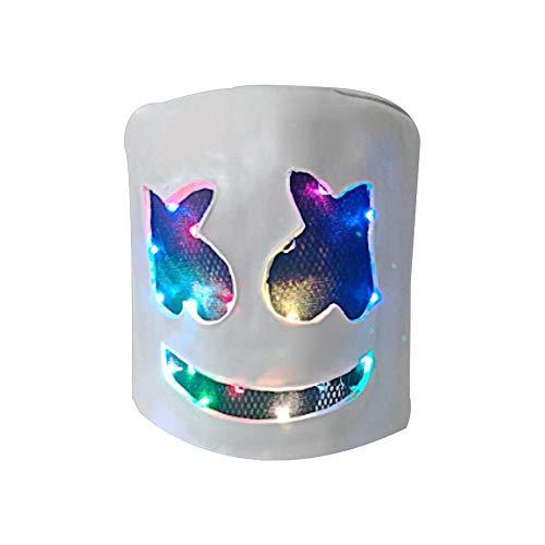 FOONEE Top Marshmello DJ Helm Musik Maske Voller Kopf Helm Halloween Cosplay Maske Bar Musik Requisiten Gummi Latex Maske Weiß (Top Schablone Halloween Kostüme)