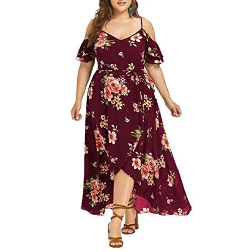 VJGOAL Damen Kleid, Frauen Plus Size Mode V-Ausschnitt Floral Maxi Abend Cocktail Party Hochzeit Boho Strand Frühling Sommerkleid (4XL / 50, W-trägerlose-Wein)