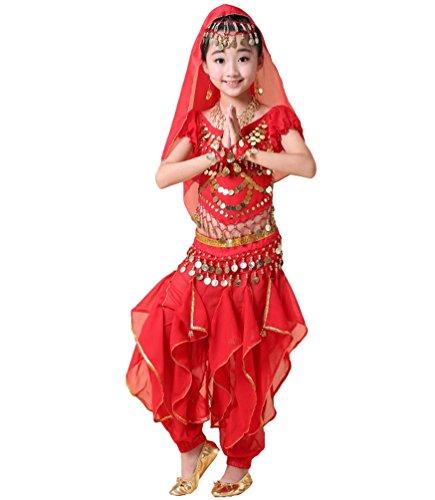 Anguang Mädchen Kostüm Mode Kinder Bauchtanz Kurzarm Top Rüschen Hosen Set Rot#5 2XL
