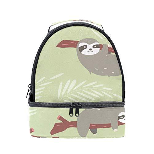 (folpply Cute Faultier mit Ärmeln Print Lunch Bag Isolierte Kühler Tote Box mit verstellbarem Schultergurt für pincnic Schule)