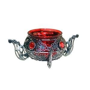 1 Pot de fleurs circulaire Moorish Porte-Bougie avec photophore rouge.