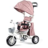 SSRS Kinderwagen Dreirad 4 in 1 Kinder Fahrrad Baby Kleinkinder mit Lenkbarer Schubstange Drehbarer Sitz/Faltbar FlüSterleise Gummireifen und Sonnendach für ab 12 Monate -5 Jahre, Pink