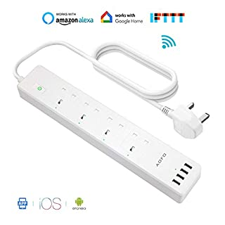 Smart Power Strip with 4 AC Outlets 4 USB Ports AOFO WiFi Smart Surge Protector Multi Plug Sockets APP Remote Voice Individual Control with Alexa Google Home Assistant
