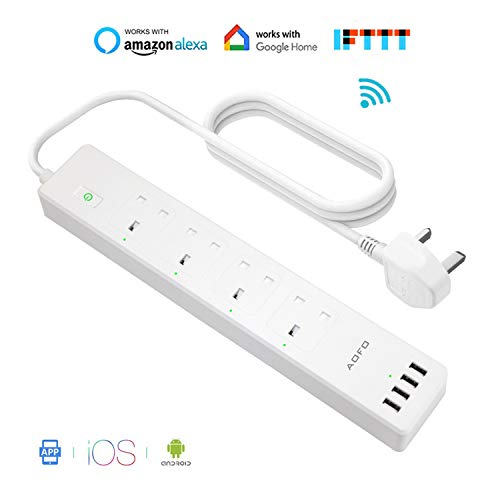 Smart Power Strip with 4 AC Outlets 4 USB Ports AOFO WiFi Smart Surge  Protector Multi Plug Sockets APP Remote Voice Individual Control with Alexa
