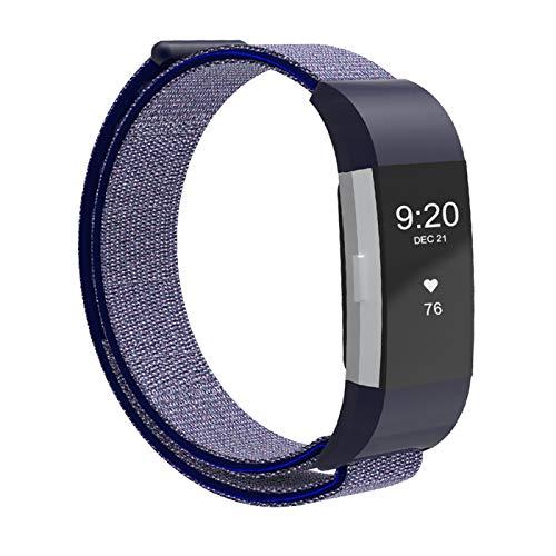SYOSIN Für Fitbit Charge 2 Armband, Ersatz Fitness Armband und Uhrenarmband, Gewobenes Nylon Sportarmband und Fitnessband, Wristband Armbänder für Fitbit Charge 2 (Navy)
