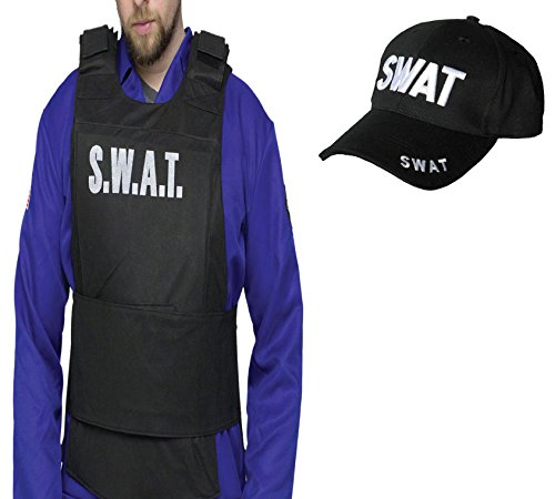 SWAT Weste & Mütze für Erwachsene, Verkleidung, Polizei, FBI, ()