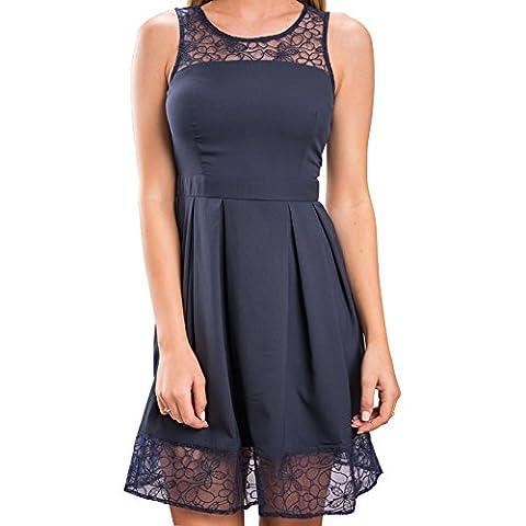 iMELY Damen Kleid Sommerkleid Freizeitkleid Cocktailkleid Lace Spitzen Elegant Ärmellos