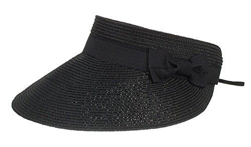 CHENNUO Visoren Damen Strohhüte Empty Top Sommer Sonnenhut Visor mit Klettverschluss (Schwarz)