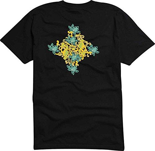 T-Shirt D505 T-Shirt Herren schwarz mit farbigem Brustaufdruck - Design Tribal Comic / abstrakte Retro Grafik / buntes Ornament aus Blüten und Blättern Mehrfarbig