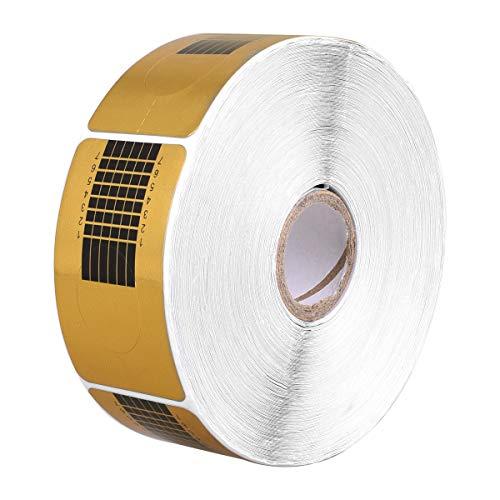OZUAR 1 Rolle / 500 Stück Nagel Schablonen Selbstklebende Modellier Schablone SQUARE-GOLD für Nailart Gel-Nägel künstliche Nagel-Verlängerung (Gold)