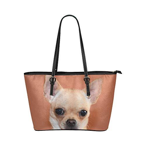 Zemivs Nette Chihuahua Hund Tier Große Leder Tragbare Top Griff Hand Totes Taschen Kausal Handtaschen Reißverschluss Schulter Einkaufstasche Geldbörse Organizer Für Dame Girls Womens