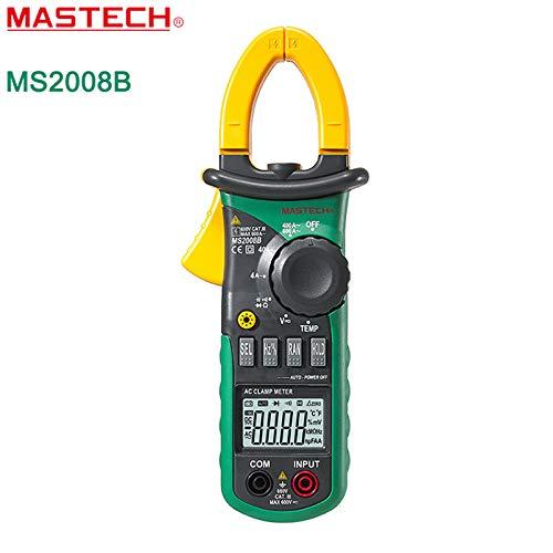 Mastech - Multímetro digital con pinza amperimétrica de rango manual y voltaje, probador de resistencia