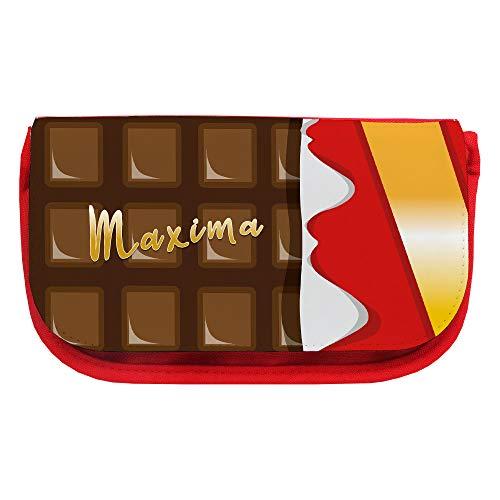 Kosmetiktasche mit Namen Maxima und Motiv mit einer Tafel Schokolade   Schminktasche   Viele Vornamen zur Auswahl