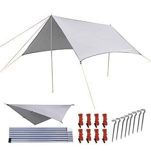 NatureFun Multifuncional 3x3m. Impermeable ante lluvia para hamaca.Tienda de camping, lona para acampar al aire libre, refugio para la playa, toldo de sol, mat impermeable para picnic, Previene el desgarro de equipos de supervivencia. Ligero y compacto. Fácil configuración