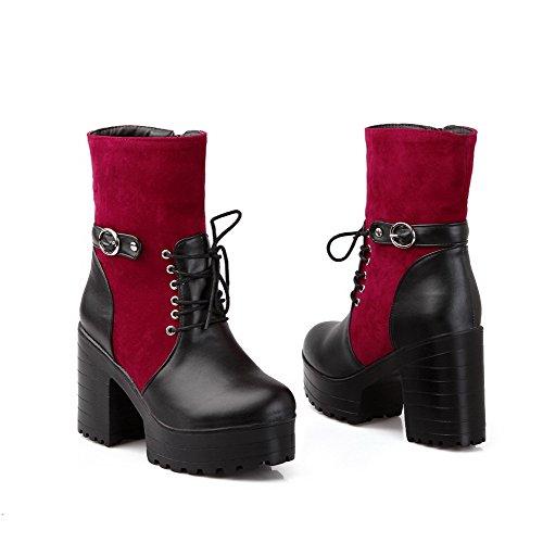 AgooLar Damen Hoher Absatz Weiches Material Gemischte Farbe Reißverschluss Stiefel Rot