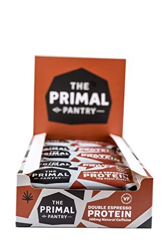 The Primal Pantry Barritas Proteinas - 15x55g - Proteina vegana, 15g Proteina, Barritas Energeticas Ciclismo, sin gluten, 100% Natural, Paleo (Double Espresso)