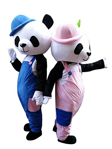 Bär Erwachsene Halloween Maskottchen Kostüme Fancy Kleider Outfits, Mehrfarbig, Male Panda in Blue (The Left One) (Maskottchen Kostüm Fancy Kleid)