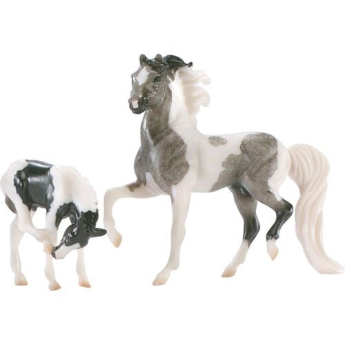 breyer-pinto-and-foal-grey-black