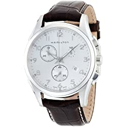 Hamilton Jazzmaster Thinline Chrono Men's Quartz Watch with Silver Dial Analogue Display and Brown Leather Strap H38612553