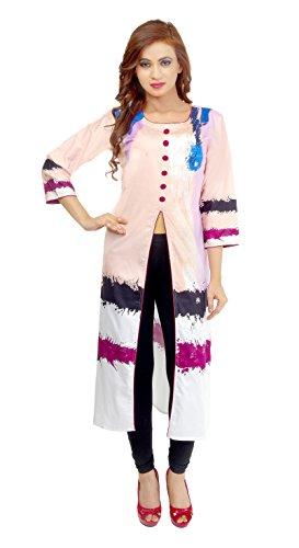 LADYBOND Digital Cotton Satin Front Slit Kurtis dress material