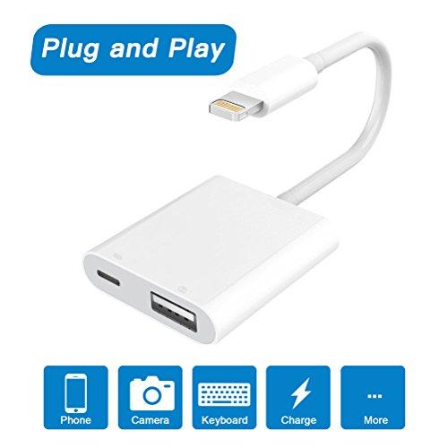 Lightning auf USB Camera Adapter, Kamera Reader, Lightning auf USB 3.0 Buchse OTG Adapter Kabel mit Laden Interface für iPhone iPad, unterstützt IOS 9,3 Oder später [Keine App Benötigt]