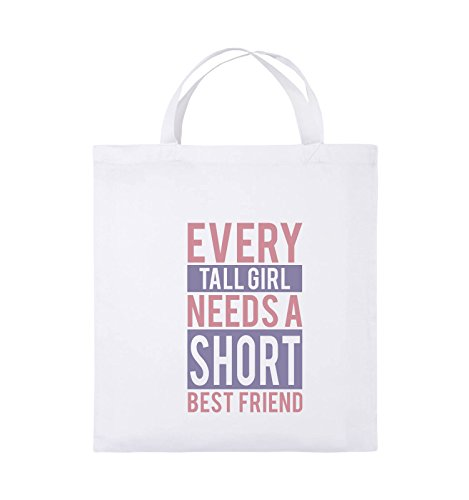 Comedy Bags - Every tall girl needs a short best friend - Jutebeutel - kurze Henkel - 38x42cm - Farbe: Weiss / Rosa-Violet (Baumwolle Custom Shorts Fit)