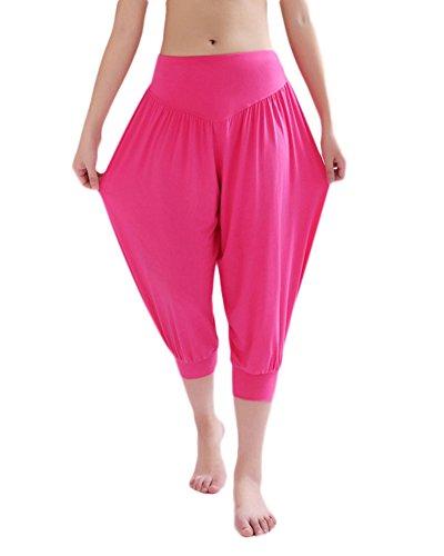 Femme Baggy Pantalons Sarouel Pantalon de Sport Yoga Harem Pantacourt Elastique Extensible Rose