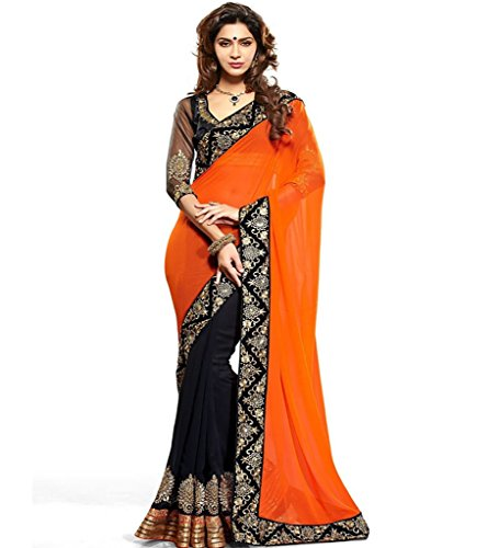 Glory Sarees Georgette Saree (Mb541_Orange And Black)