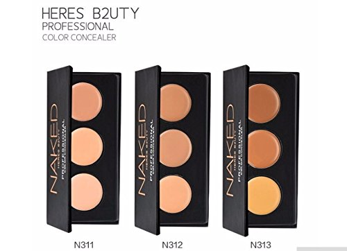 Heres B2uty 1pièce 3 couleurs Correcteur professionnel visage Anti-cernes Crème contour Palette maquillage hydratant Surligneur Camouflage