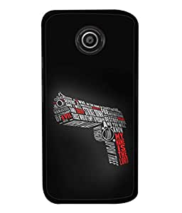PrintVisa Designer Back Case Cover for Motorola Moto E2 :: Motorola Moto E Dual SIM (2nd Gen) :: Motorola Moto E 2nd Gen 3G XT1506 :: Motorola Moto E 2nd Gen 4G XT1521 (Pistol Quotes Wordings Bullets )
