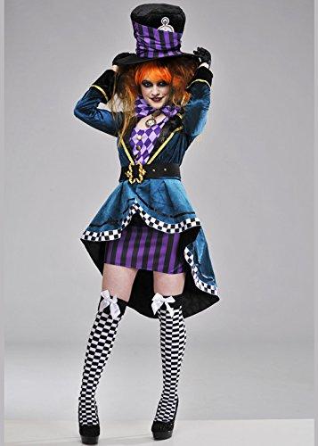 Damen Deluxe Gothic Mad Hatter Kostüm S (UK ()