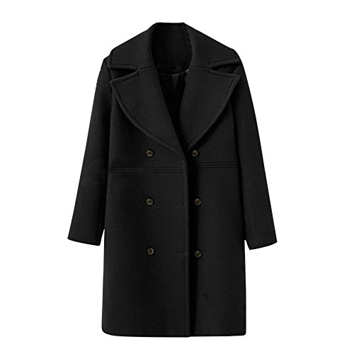 Rosennie Damen Trench Coat Frauen Woolen Jacket Coat Mode Lose Winter Warm Langarm Knopf Winter Mantel Langer Mantel Elegantes Revers Parka Jacke Strickjacke Outwear (Schwarz,S)