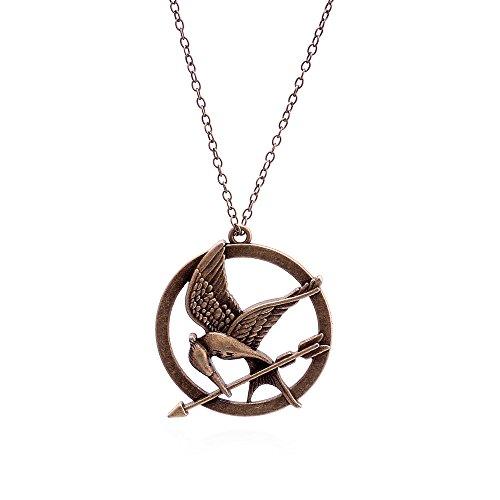 Lureme Antique Bronze Kette Pfeil Vogel Pendant Halskette for Women and Men 01000947-1 (Hunger Games Halloween)