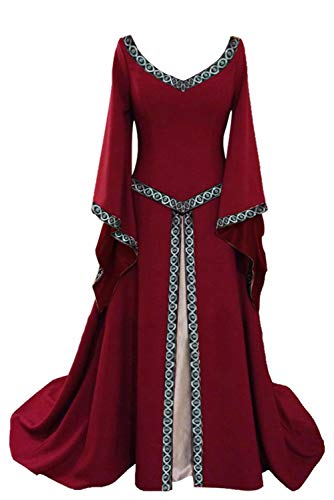 (Damen Langarm Viktorianischen Königin V-Schnitt Mittelalterkleid Horn Hülse Cosplay Kostüm Prinzessin Renaissance Gothic Bodenlänge Weinrot)