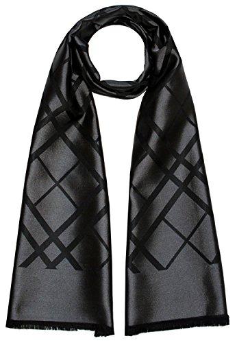 LORENZO CANA Luxus Herren Schal aus 100% Seide aufwändig jacquard gewebt Damast Seidenschal Seidentuch Tuch schwarz 25 cm x 160 cm - 8923311