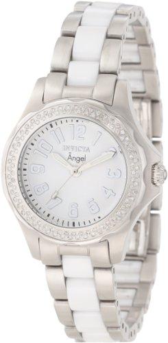 Invicta Women's Angel White Ceramic Band Steel Case Flame-Fusion Crystal Quartz Analog Watch 1779