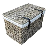 SIDANO Wicker Storage Trunk Chest Hamper Lidded Basket, Wicker Basket with Lid Made From Untreated Natural Rattan and Wicker Chest Chest, Grey 62X38X38cm