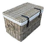 Rattankorb mit Deckel, Flechtkorb mit Deckel / Truhe aus unbehandeltem Natur-Rattan, Rattantruhe, Grau, 62x38x38 cm