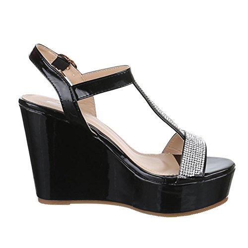 Damen Schuhe, L2012, SANDALETTEN KEILABSATZ PUMPS RIEMCHEN Schwarz