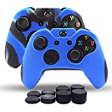 Skin Coque Lot 2pour Xbox One/Xbox One Fin/Manette Xbox One X Double Plus épais Coque en Silicone antidérapant Grip étui Protecteur–8PCs Pro Pouce Grips- Bleu + Camo Bleu